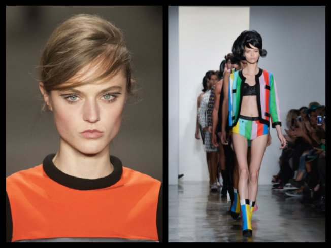 (left: faking fringe with a deep side part; right: real bang action from  Jeremy Scott's NYFW runway.)
